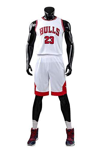 Yueyue Herren NBA Michael Jordan # 23 Chicago Bulls Retro Basketball Shorts Sommer Trikots Basketballunifor (Weiß, XXL(Hauteur:170-175cm))