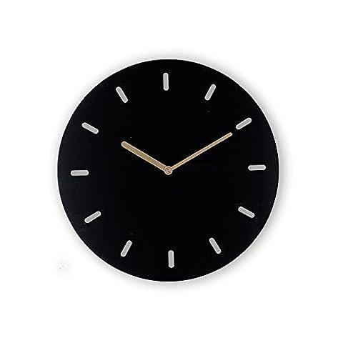 Ping0fm Moderne und Minimalistische Kunst Eisenglocke kreative einfachen Quarz Wandschmuck Wand Uhr stumm Wanduhren,14 Zoll,Ein