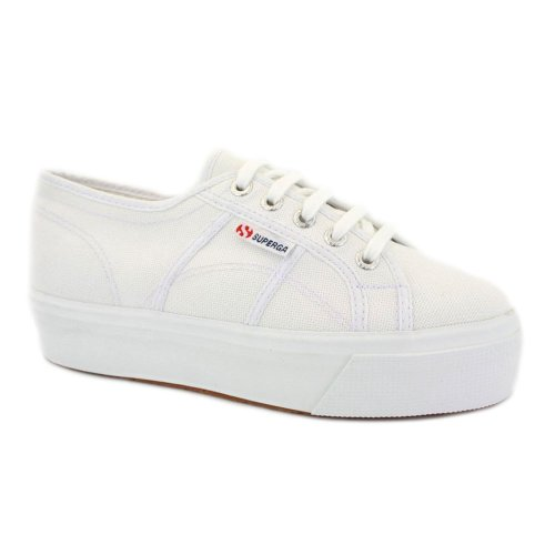 Superga 2790 Acotw Flatform Womens Laced Canvas Trainers White - 6