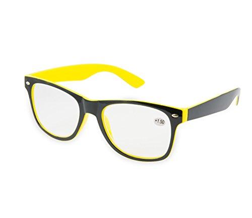Lesebrille schwarz + 1,5RETRO jetzt Big Förderung, Schwarz - yellow +1.5 - Größe: Medium