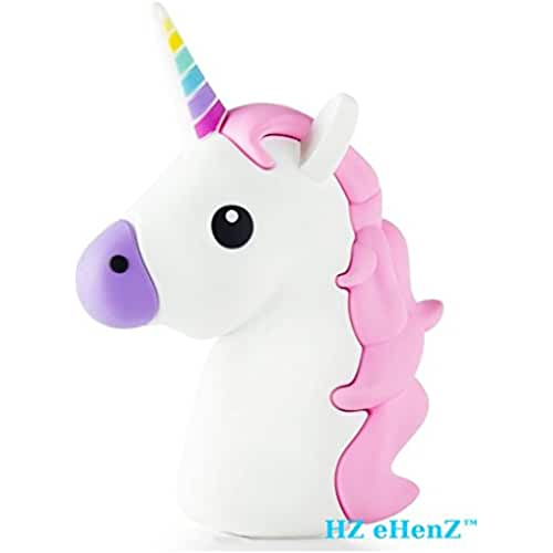 unicornios kawaii eHenZ © 2600 mAh de la batería externa unicornio blanca púrpura rosa banco de energía de la batería de respaldo emoji inteligente sistema de carga de 5 protección de tecnología, 2 cables USB Micro Android, iOS iphone 7,6,5