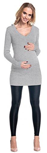 Happy Mama Femme. Maternité pull long de grossesse capuche col V. 908p Gris
