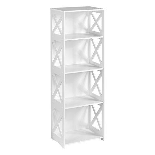 Finether weißes Regal Stehregal Standregal Steckregal Schuhregal Bücherregal für Wohnzimmer Badezimmer zur Aufbewahrung von Bücher Schuhe Toilettenartikel aus WPC wasserdicht (4 Böden-3) (4 Regal-wohnzimmer-bücherregal)