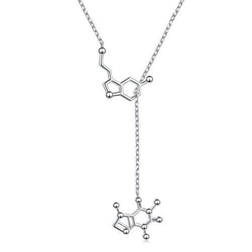 Collar de Plata de Ley 925 con Diseño de serotonina