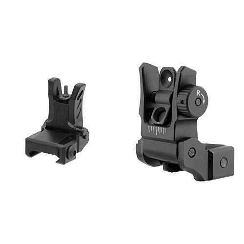 UTG MNT-755 Visier schwarz One Size & UTG Low Profile Flip-up Rear Sight with Dual Aiming Aperture MNT-955 Visier schwarz, one Size (Flip Leupold)