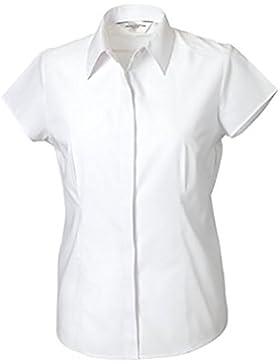 Russell Collection- Camisa entallada de manga casquillo de popelín y fácil cuidado de poliéster y algodón para...