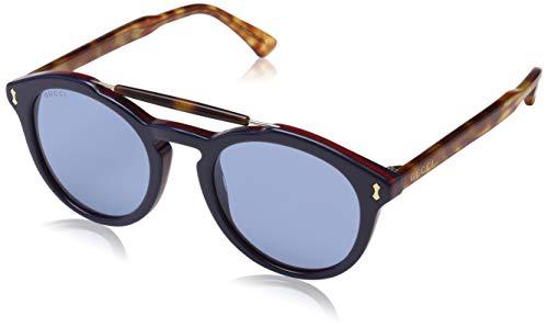 Gucci gg0124s 003 occhiali da sole, blu bluee, 50 uomo