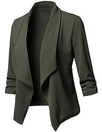 42c09abbd93d5 GUOCAI Women Lapel Ruched Plus Size Solid Casual Open Front Blazer Jacket  Suit Coat