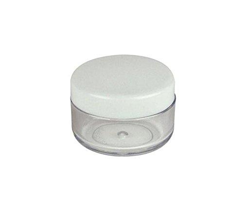 50PCS 3Gram / ML Vide Boîte de rangement en plastique transparent rechargeable Boîte de flacon de voyage avec des casquettes blanches pour crème Eyshadow Lotion cosmétique