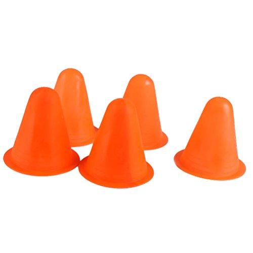 Tinksky 5pcs PVC Bright-colored Slalom Skating Cones (Orange) Test