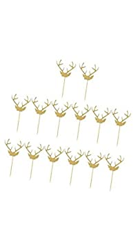 Banggood ELECTROPRIME 20pcs Glitter Antlers Paper Merry Christmas Cake Topper Xmas Party Decor