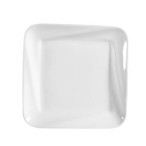 CAC China Princesquare Porzellan-Teller, quadratisch, Weiß 8-Inch Super white; bright white - Quadratische Weiße China Teller,