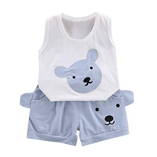 ind Baby Kinder Jungen Mädchen Cartoon Bär Print Tops + Shorts Outfit Set ()