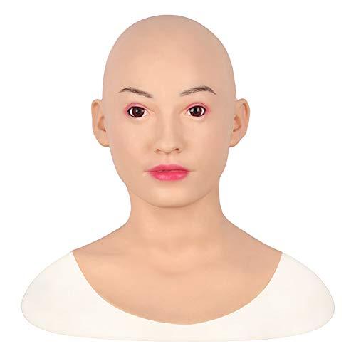 FHSGG Realistische silikon weibliche Maske hochwertige weibliche Kopfbedeckung Maskerade für Crossdresser göttin Gesicht Halloween Drag Queen,Asianyellow