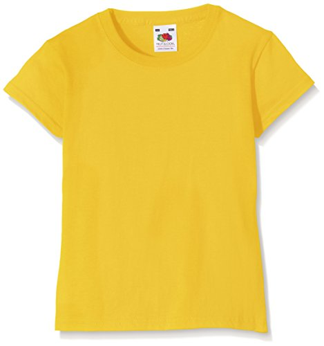 Fruit of the Loom Mädchen T-Shirt Valueweight, Gelb - Yellow (Sunflower Yellow)Gr. 5/6 Years (Herstellergröße: 26) - Einhorn Gelb T-shirt
