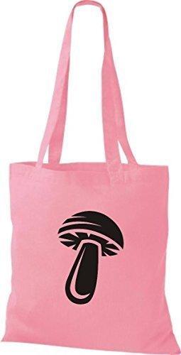 ShirtInStyle Stoffbeutel Baumwolltasche Dein Lieblings Obst und Gemüse Pilz Farbe Kelly rosa