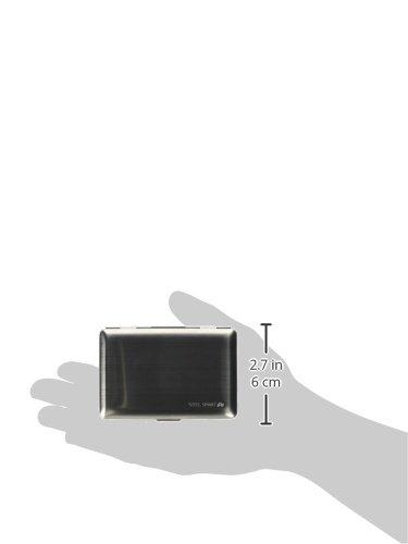 Dünnes & edles Kreditkartenetui aus gebürstetem Edelstahl mit RFID-Blocker (Datenschutz) – modernes Design mit abgerundeten Ecken - Metall Kartenhalter Portemonnaie für Damen & Herren