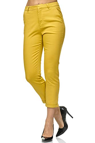 Pantalones chinos amarillos ajustados para mujer