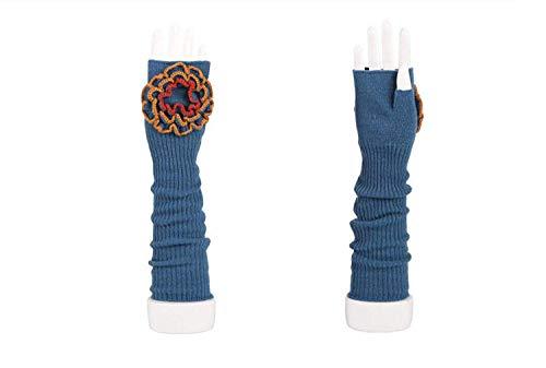 (Emmay Neue Damen Lange Fingerlose Handschuhe Wärmen Blumen Arm Parteien Sets Party Stil Herbst Und Winter Blue Fäustlinge Mädchen (Color : Blau, Size : One Size))
