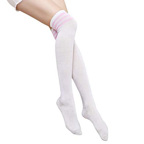 CHIC DIARY Overknee Strümpfe Damen Mädchen Cheerleader Kostüm College Gestreifte Kniestrümpfe Sportsocken - College Kostüm Bilder