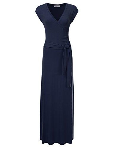 NINEXIS Damen Maxikleid V-Ausschnitt Kappe Ärmel Taille Wrap Front - Blau - XX-Large -