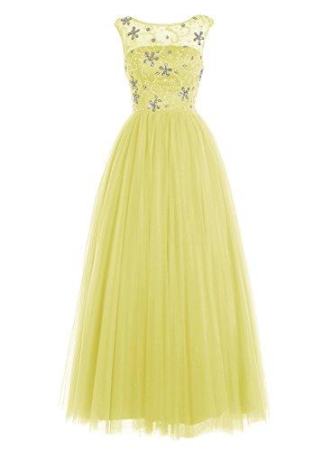 Bbonlinedress Damen Bodenlang Tüll Abendkleider Rücken-V-Ausschnitt Promi-Kleider Gelb