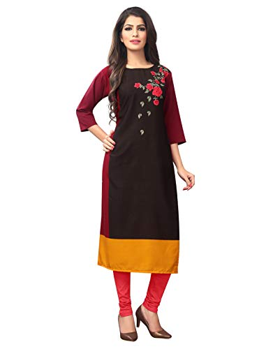 1 Stop Fashion Women's Brown-Yellow Coloured Crep Knee Long W Style Kurtas/Kurti