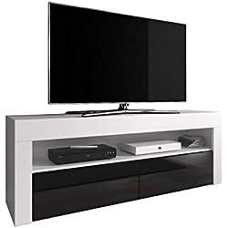 """E-Com - Meuble TV """"Luna"""" 140 cm Blanc Mat Avec Façade Noire Brillante (Sans Lumières LED RGB)"""
