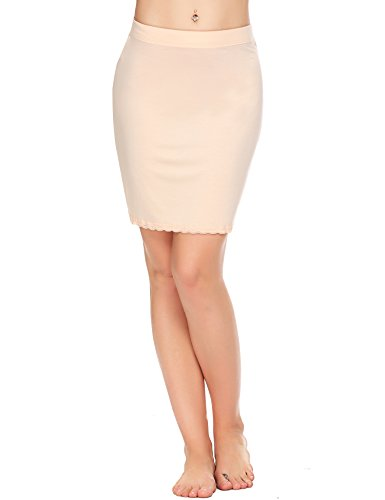 ADOME Damen Rock Unterrock Lingerie Halbrock Unterkleid Einfarbig Vintage Elastische Underskirt Beige XL
