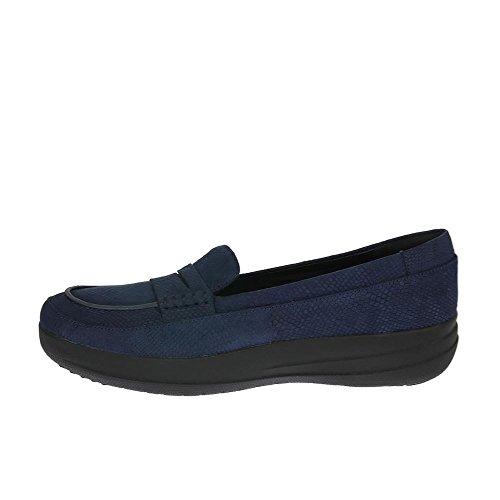 FitFlop Damen F-Sporty Penny Loafer Snake Slipper, Schwarz Blue (Midnight Navy Snake-Embossed)