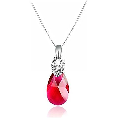 GoSparking collana d'argento del pendente Ruby Red cristallo Teardrop sterlina con il cristallo austriaco per le donne
