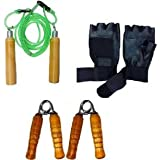 Monika Sports Black PVC Strengthener Trainer Adjustable Hand Grip With Leather Gloves (Pack Of 4)