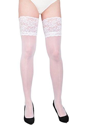 sofsy Lace Oberschenkel High Opaque Strumpfhosen Nylon Strumpfhosen Strümpfe Silikon Top 60 Den Hergestellt in Italien