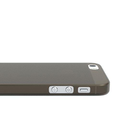 """EAZY CASE Handyhülle für Apple iPhone SE, iPhone 5S/5 Hülle - Premium Handy Schutzhülle Slimcover """"Clear"""" hochwertig und kratzfest - Transparentes Silikon Backcover in Klar / Durchsichtig Matt Schwarz / Anthrazit"""