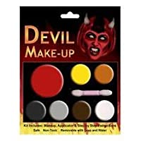 Scream Machine Halloween Devil Make Up Kit, The Makeup Set Comes With Fake Blood, for men women & kids. Easy To Apply And To Take Off Face Paints.