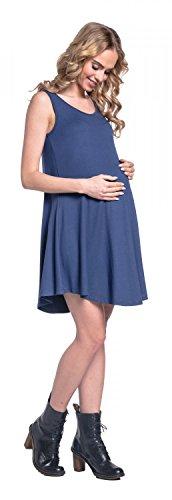 Happy Mama. Femme Maternité Robe Stretch Coupe Ample Sans Manches Mi-Longue.625p Bleu Gris