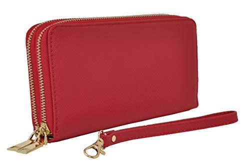 Portafoglio Donna Grande, Eco Pelle, con Cerniera Zip e Portamonete (Rosso)