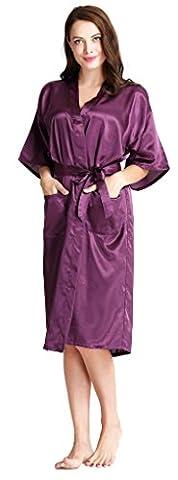 Aibrou Femmes satinée peigviolet foncé longue long robe Chemise de nuit chambre kimono coquet et féminin nuisette confortable Satin un goût Japon (violet foncé,XL
