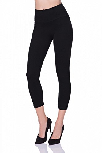 Pretty Fashion Womens Cropped Leggings | 3/4 Length Leggings | Capri Stretchy Leggings | High Waisted Sports Active Gym Leggings | Plus Size 8-22