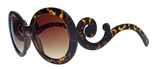 assics Große runde Damen Retro Sonnenbrille im Designer Look 60er 70er Jahre dicker breiter Rahmen Bügel geschwungen verschnörkelt PR93 (Hornbrille braun) ()
