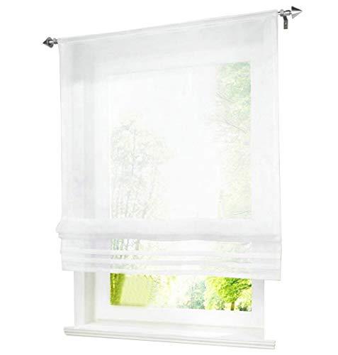 1er-Pack Raffrollo mit Tunnelzug Gardinen Transparent Voile Vorhang (BxH 80x155cm, weiß)