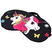 FowerYY máscara de ojos multifuncional creativa de unicornio de dibujos animados para dormir negro