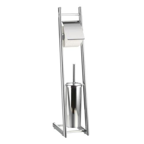 Axentia Bad 282253 WC-Garnitur Alena, verchromt, mit WC-Papierrollenhalter und geschlossenem Bürstenhalter mit Metallstiel, Ovalrohr, 74 cm hoch -