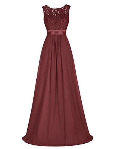 Dresstells Damen Bodenlang Chiffon Rücken-V-Ausschnitt Abendkleider Burgundy