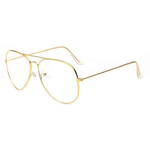 Doublehero Retro Unisex Pilotenbrille Metallgestell Fensterglas Brille Ohne Stärke Durchsichtige...
