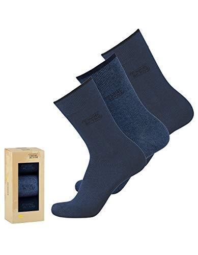 camel active Geschenkbox Herren Socken 3er Pack uni basic dunkel-blau navy, Size:39-42