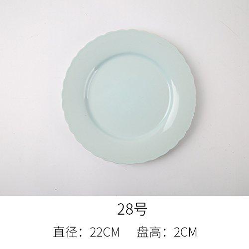 YUWANW Keramik Teller Besteck Home Küche Gemüse Fach Ist EIN Flaches Fach Personalisierte Creative Steak Pan Rund Farbe Westlichen Tastatur, Hellgrau 28. -