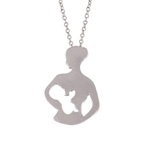 Fannyfuny Mutter Baby Halskette mit Anhänger Sommer Schlüsselbein Halskette Aluminiumlegierung Hollow Zeichen Halskette Einzigartige Stil Silber Gold (Set Claires Ohrringe)