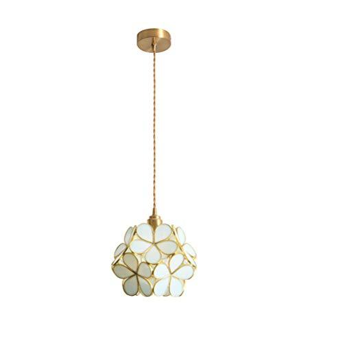 FU_YING Kreative Glas Pendelleuchte kinder Blütenblätter Reinem Kupfer Kronleuchter Veranda Foyer Deckenbeleuchtung Dekoration Hängelampe Leuchte (Size : B) -