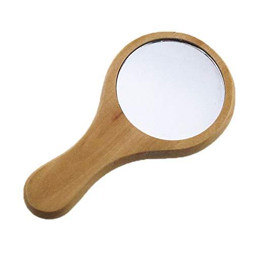 Kentop rundschreiben Espejo de Mano con Mango de Madera de Maquillaje Espejo